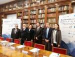De izda. a dcha., Juan Manuel Ortiz, Rafael Casquero, Ana González Pinto, Carlos Mur de Viu, Jerónimo Saiz y Cecilia Borrás.